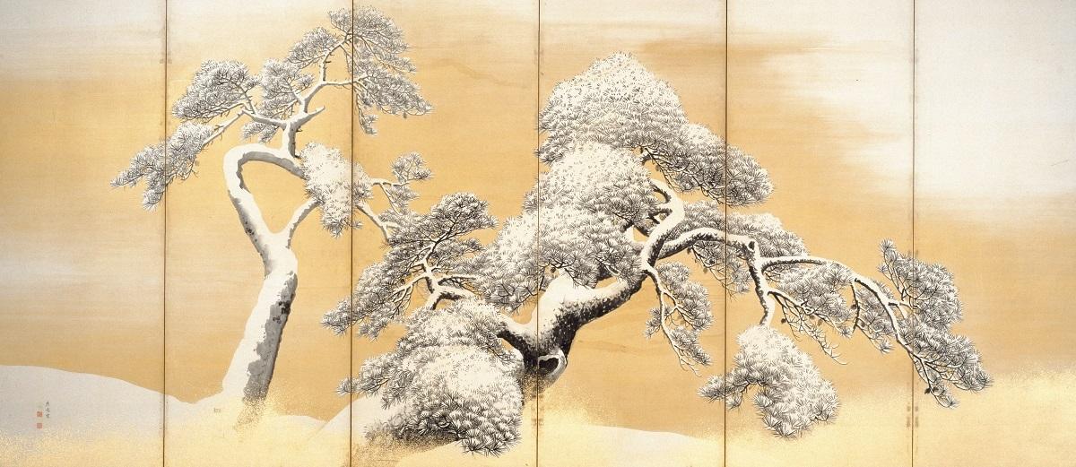 国宝 雪松図屏風(左隻)   円山応挙筆 東京・三井記念美術館 江戸時代・18世紀