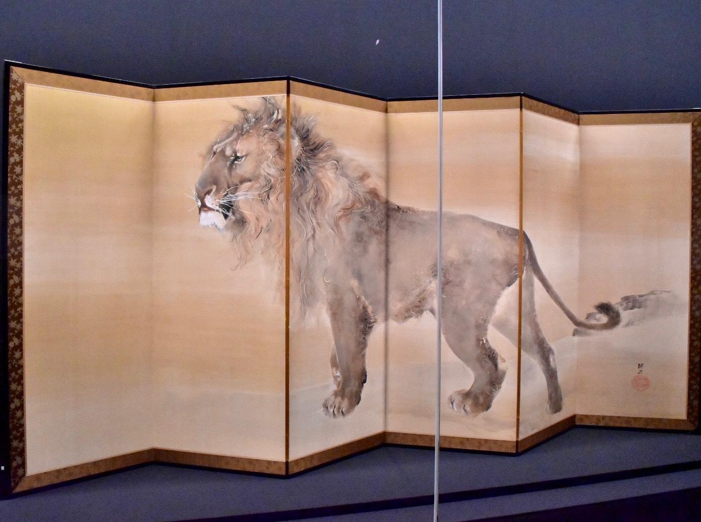 獅子虎図屏風(右隻) 明治37年(1904) 個人蔵
