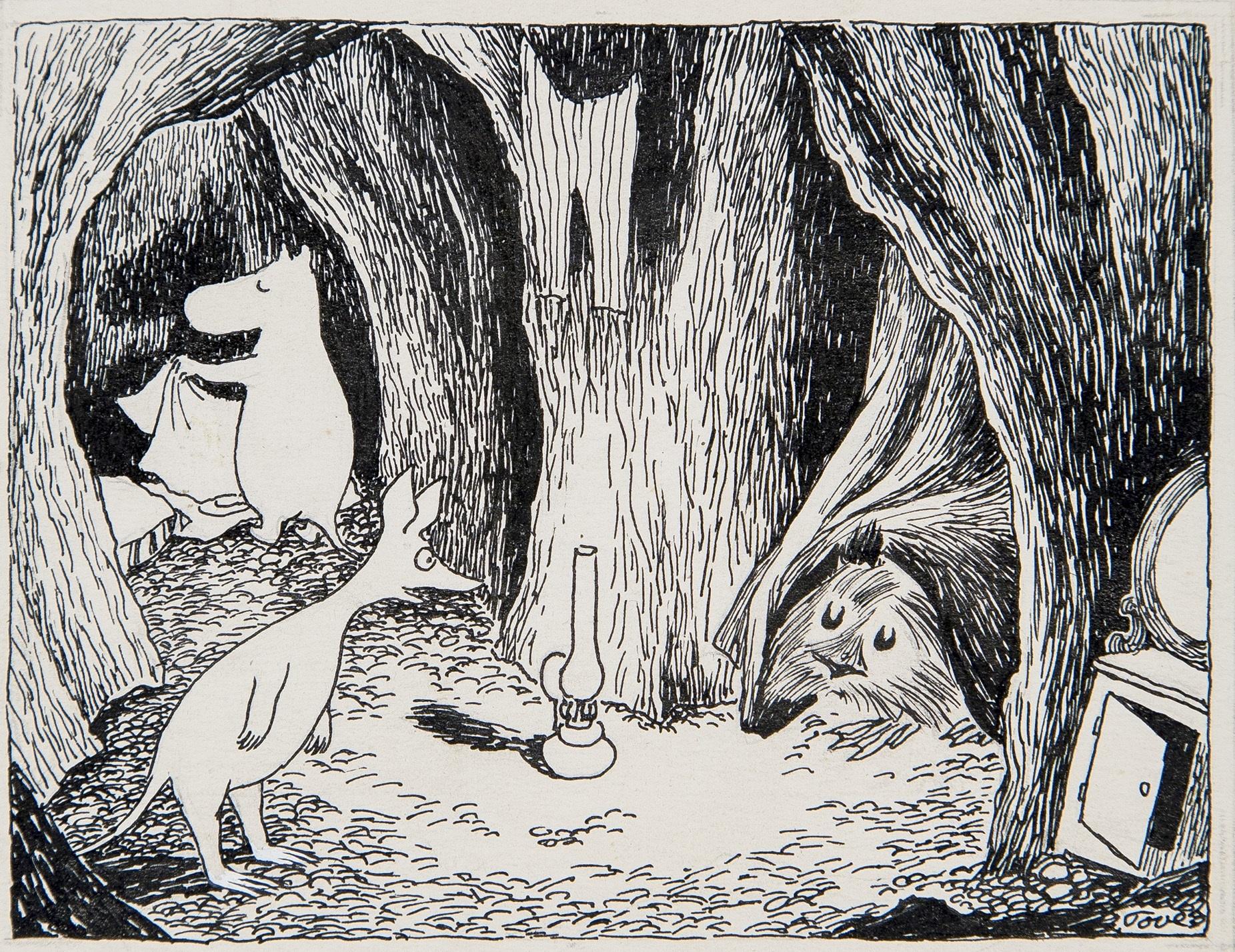トーベ・ヤンソン≪「ムーミン谷の彗星」挿絵≫1946年 インク・紙 ムーミン美術館