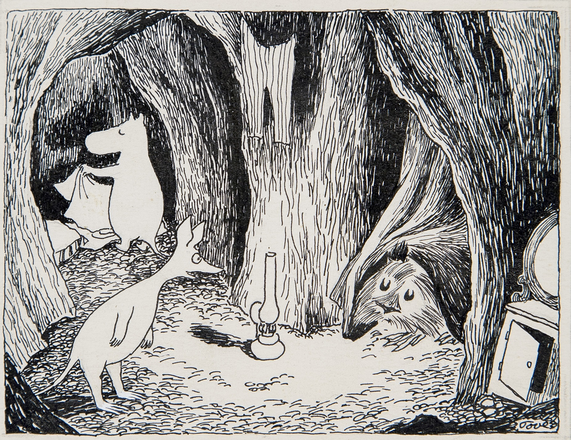 トーベ・ヤンソン≪「ムーミン谷の彗星」挿絵≫1946年 インク・紙 ムーミン美術館 (C)Moomin Characters TM