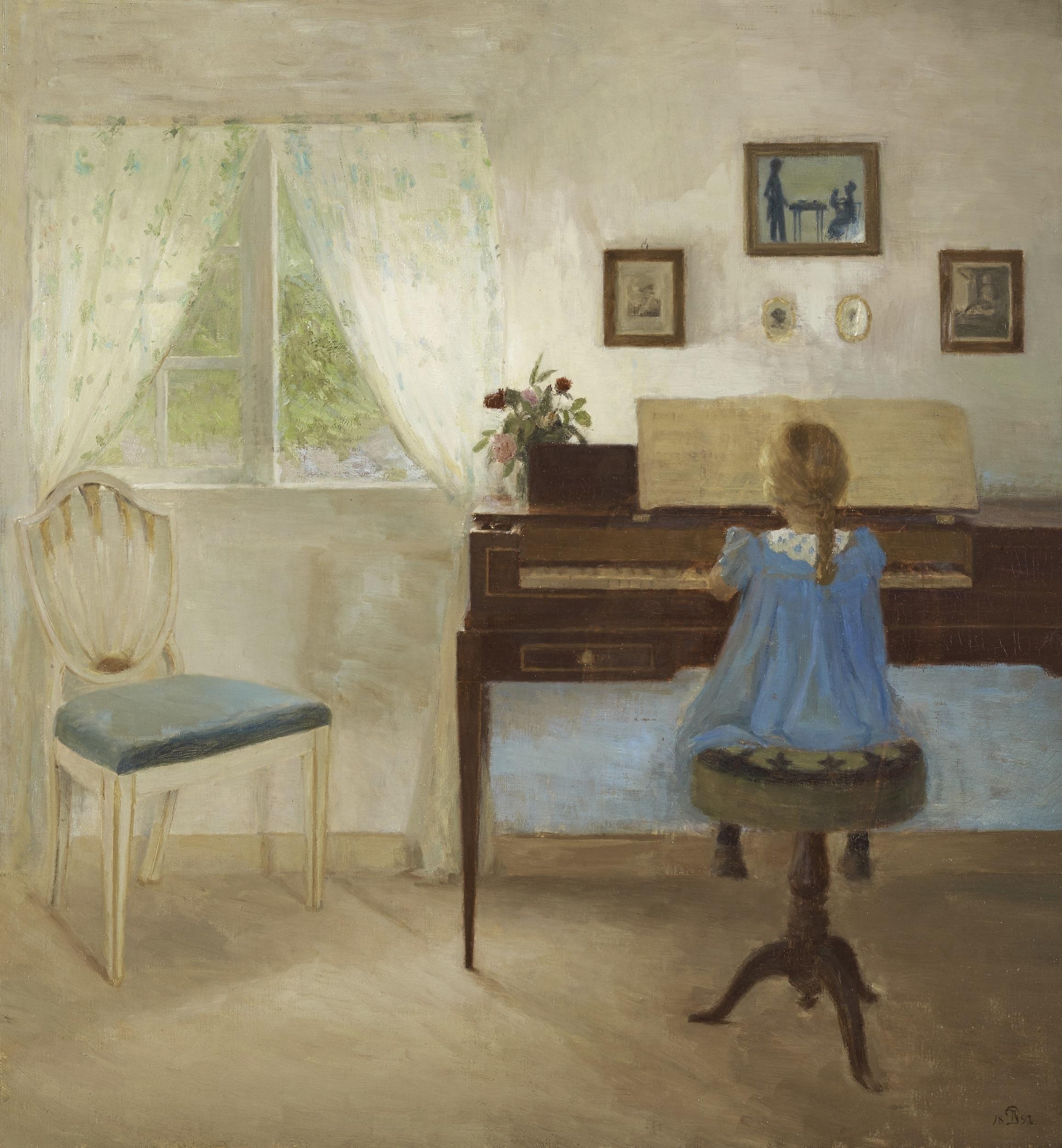 ピーダ・イルステズ 《ピアノに向かう少女》 1897年 アロス・オーフース美術館蔵 ARoS Arhus Kunstmuseum / (C)  Photo: Ole Hein Pedersen