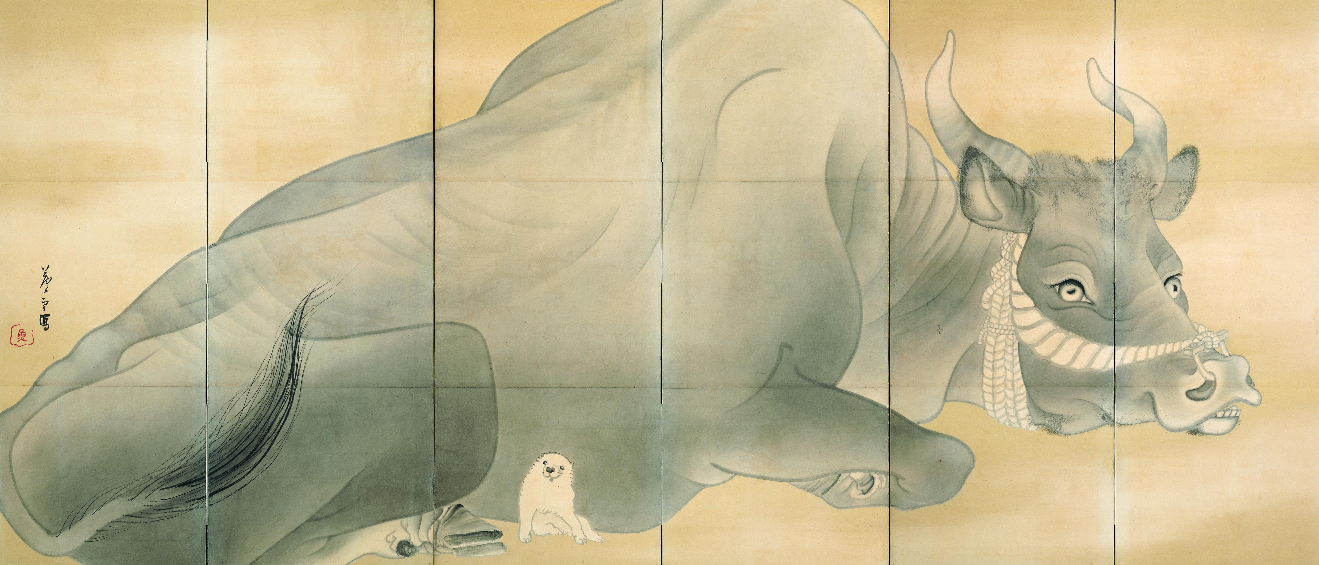 長沢芦雪 《白象黒牛図屏風》 紙本墨画 六曲一双 各155.3×359.0 江戸時代(18世紀)  エツコ&ジョー・プライスコレクション(部分)