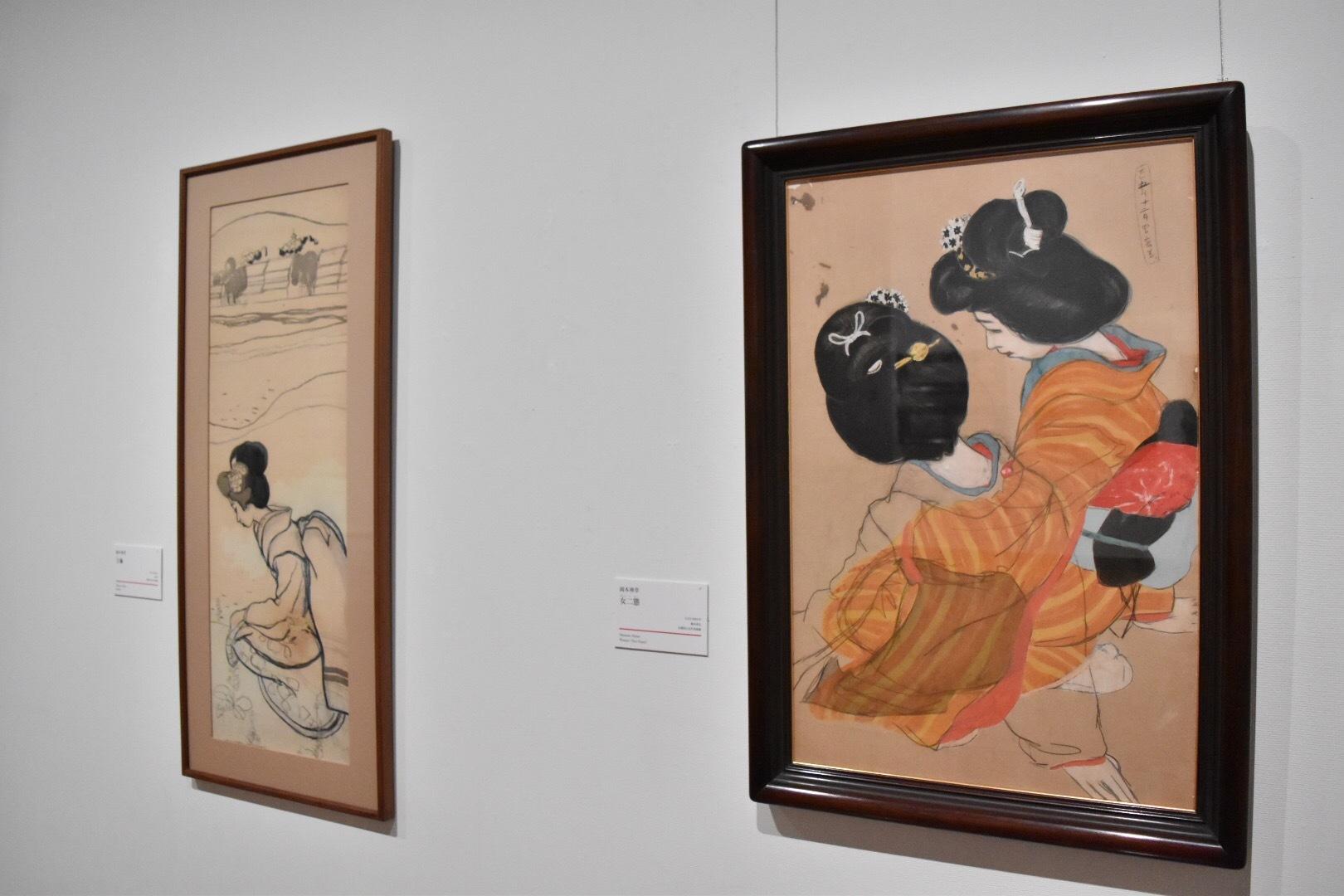 左:岡本神草 《吉彌》 大正5(1916)年 京都国立近代美術館 右:岡本神草 《女二態》 大正5(1916)年 京都国立近代美術館