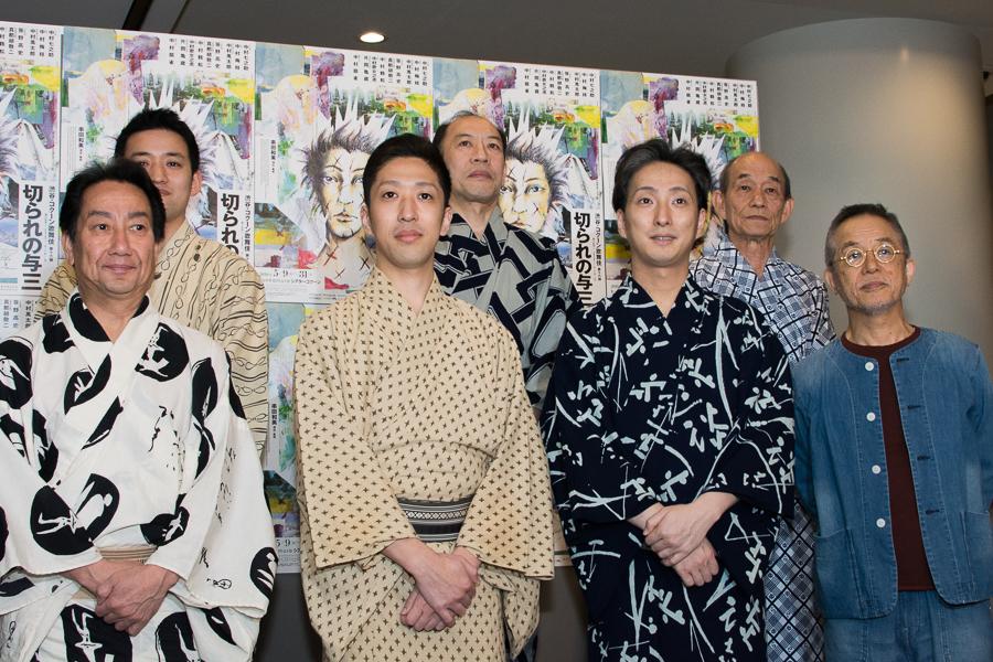 (左から)扇雀、萬太郎、梅枝、亀蔵、七之助、笹野、串田