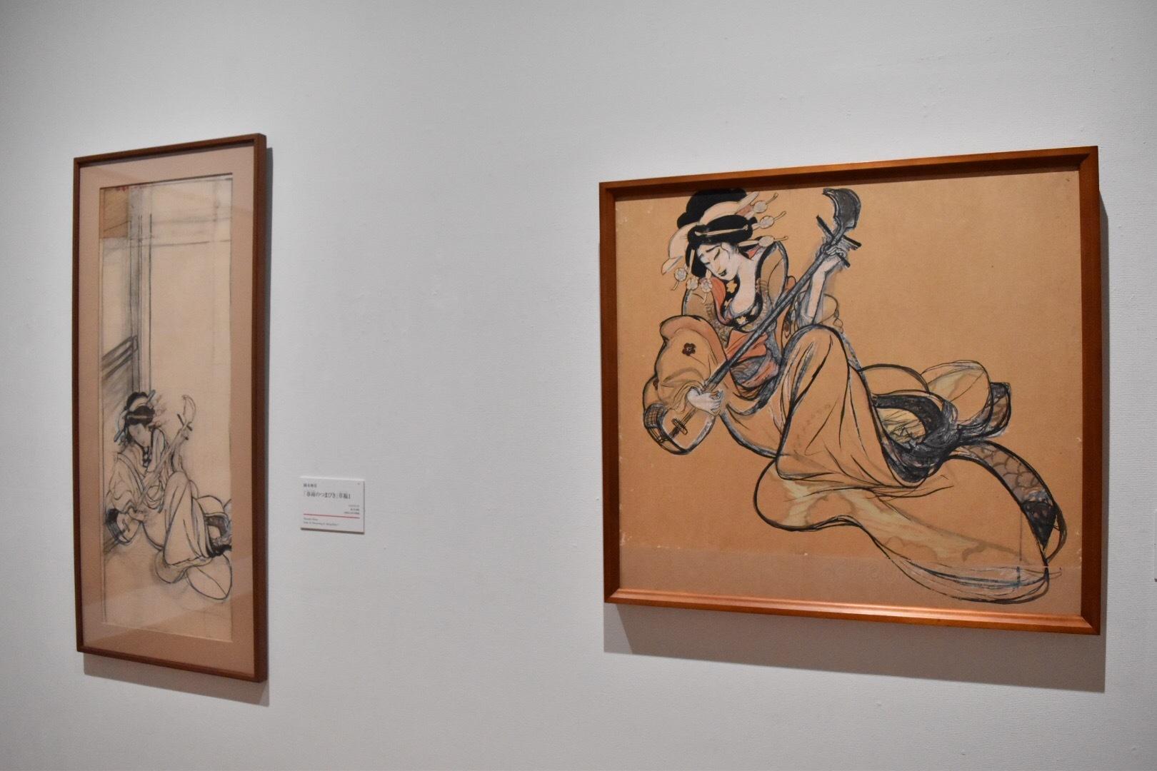 左:岡本神草 「春雨のつまびき」草稿1 大正6(1917)年 京都国立近代美術館 右:岡本神草 「春雨のつまびき」草稿2 大正6(1917)年