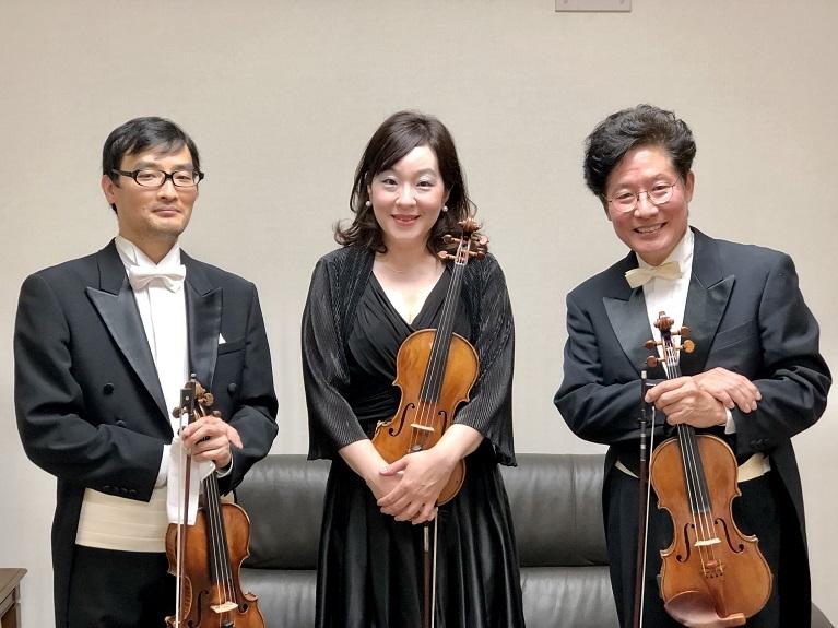 コンサートマスターは3人体制(岡本伸一郎、林七奈、森下幸路  左より)