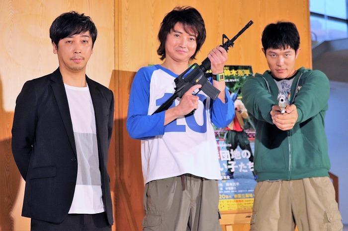 (左から)蓬莱竜太、藤原竜也、鈴木亮平