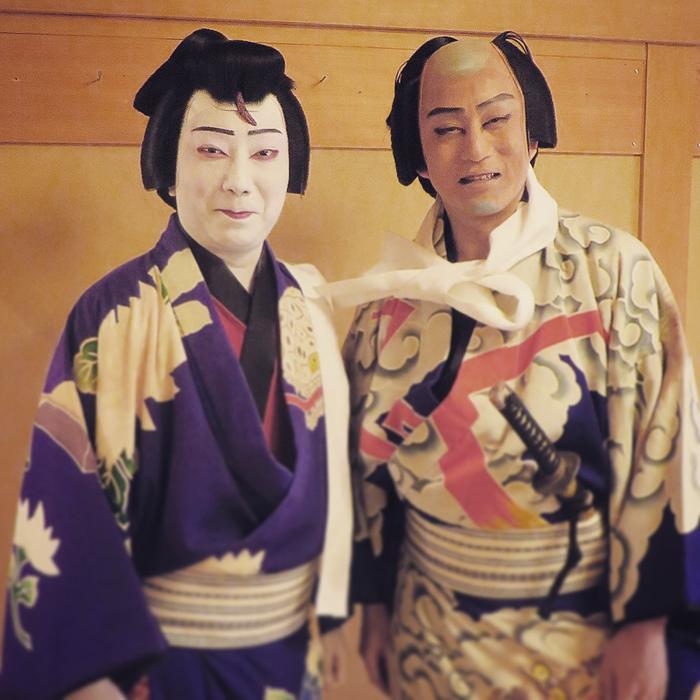 「弁天小僧」を日替りで勤めた二人。2019年3月歌舞伎座楽屋にて。 提供:市川猿之助