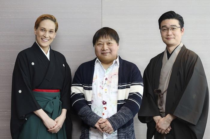 『桜咲く夜~歌劇家話』(左から)桐生麻耶、荻田浩一、尾上菊之丞
