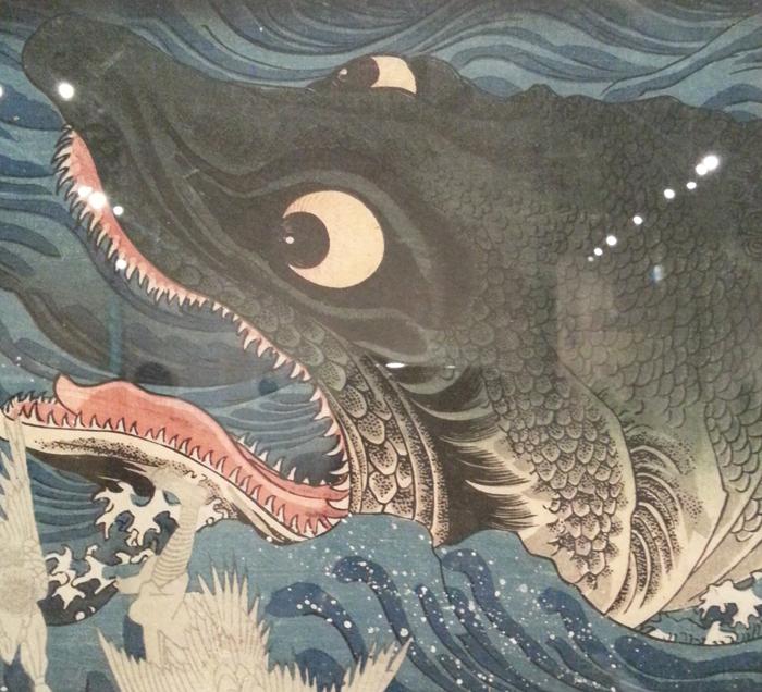 歌川国芳「讃岐院眷属をして為朝をすくふ図」(部分) 1枚1枚の鱗だけでなく、鱗の表面まで描かれている