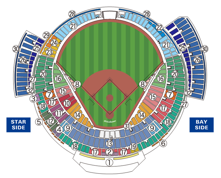 横浜スタジアムの座席図 (c)YDB