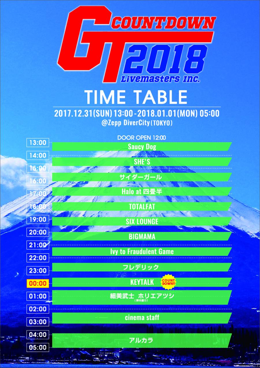 『GT2018』タイムテーブル