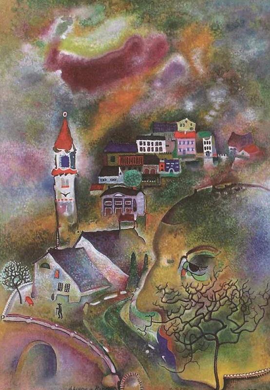 オットー・ネーベル《アスコーナ・ロンコ》1927年、水彩、グアッシュ・紙、ベルン美術館
