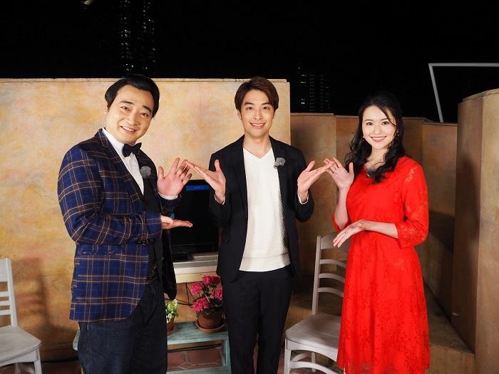 写真左から 斉藤慎二(ジャングルポケット)、海宝直人、小南満佑子