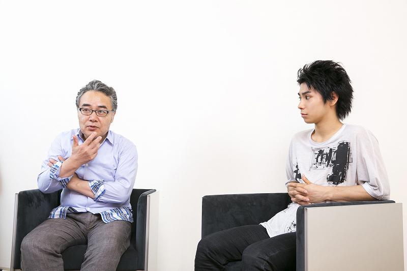 (左から)岩松了、村上虹郎 撮影=鈴木久美子