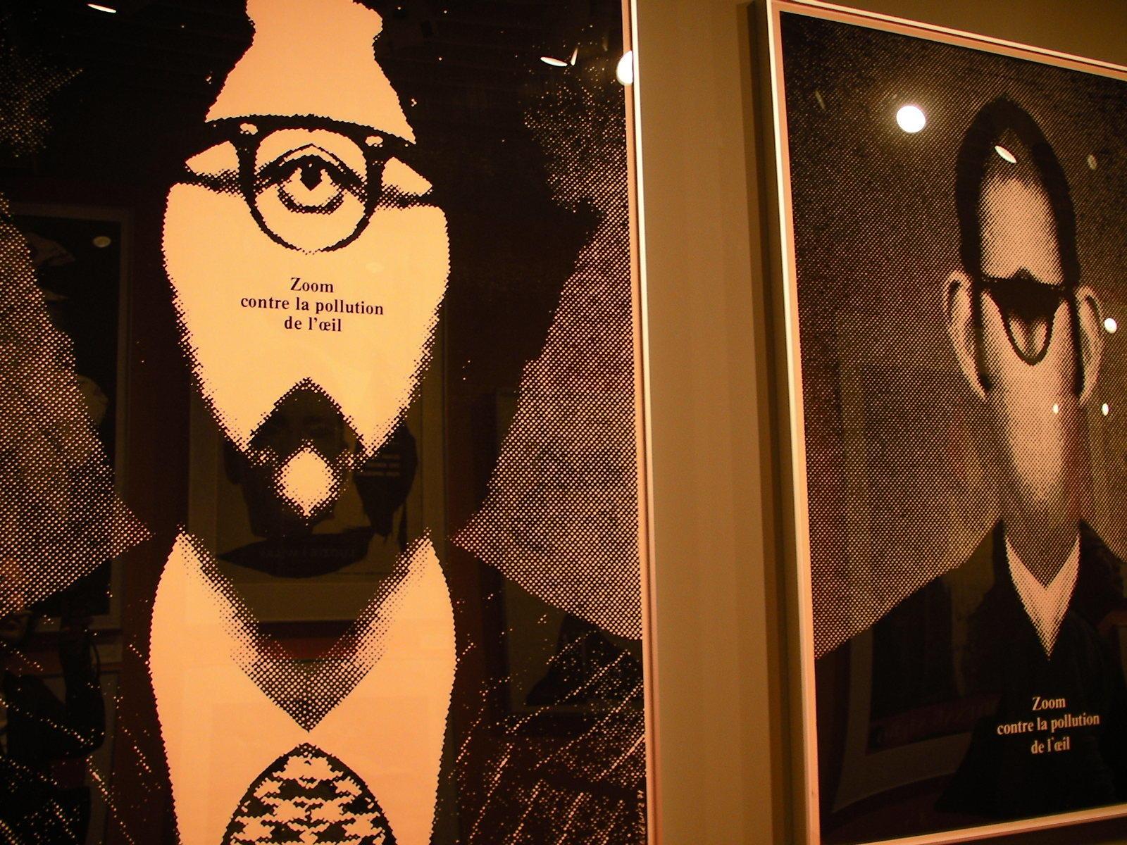 左から 〈Poster〉1971 目の汚染に対してズームせよ〔髭のある顔〕、〈Poster〉1971 目の汚染に対してズームせよ