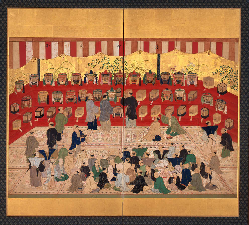 鶉会之図屏風  [展示期間:8月6日~9月1日] 東京都江戸東京博物館/蔵