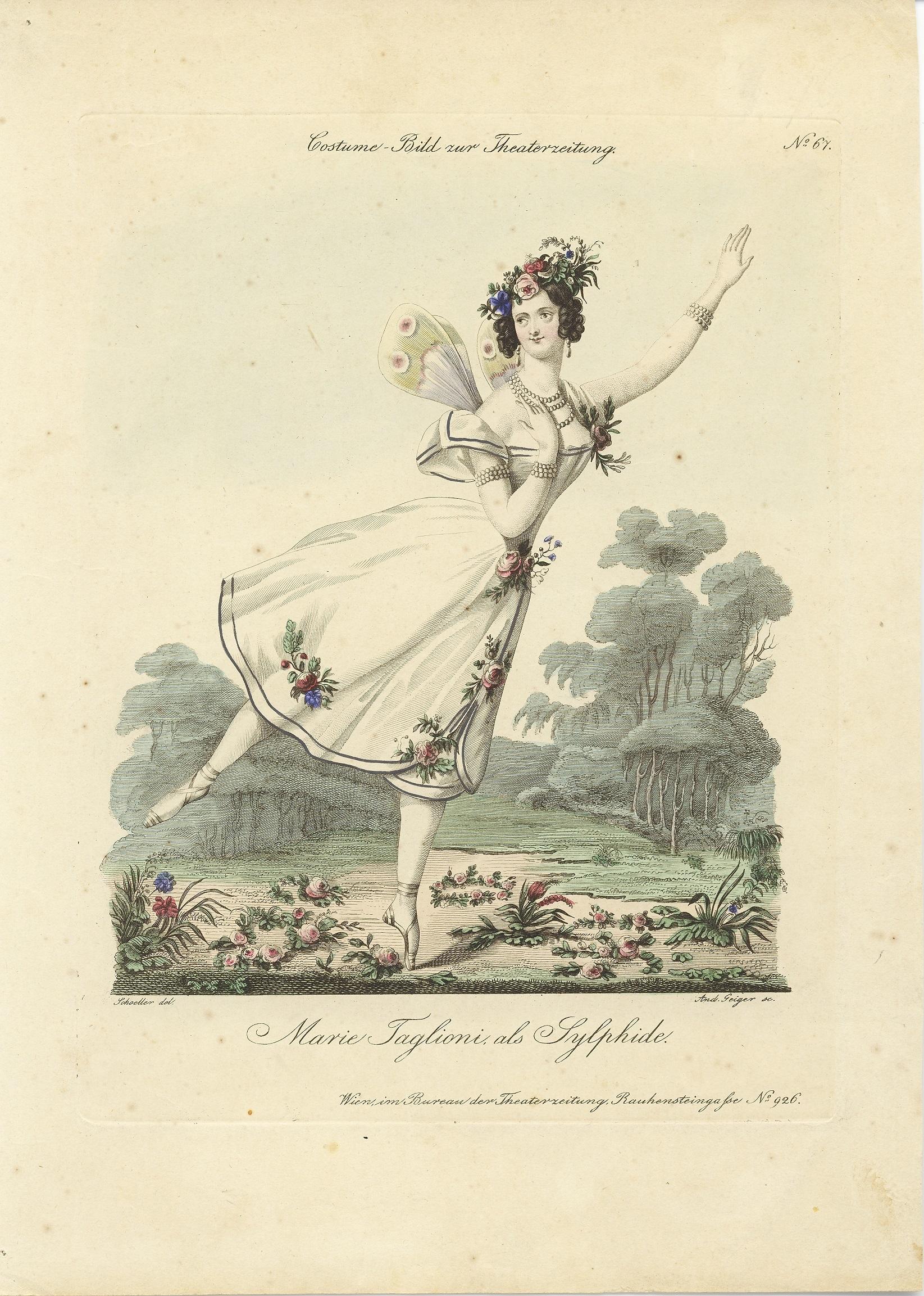 マリー・タリオーニ『ラ・シルフィード』アンティークプリント 1833年頃
