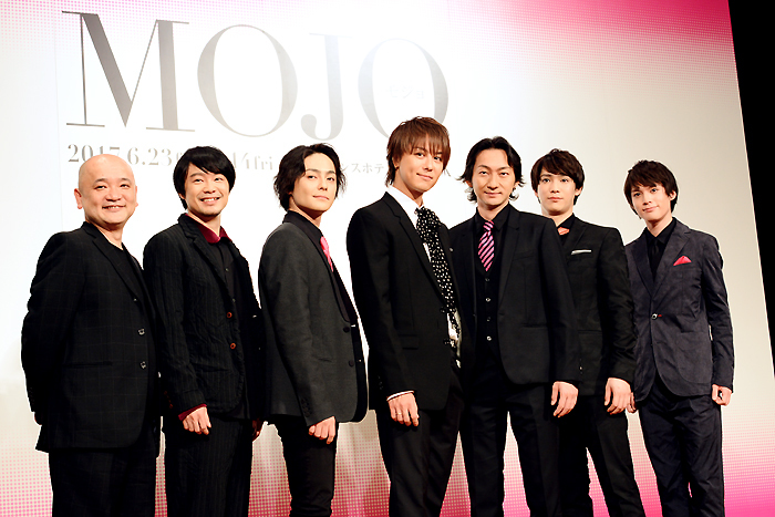 左から青木豪、尾上寛之、木村了、TAKAHIRO、波岡一喜、味方良介、横田龍儀 舞台「MOJO」製作発表記者会見