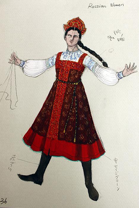 「ロシア」の女性の衣装。プリンシパルの衣装はもっと頭飾りが大きいそう