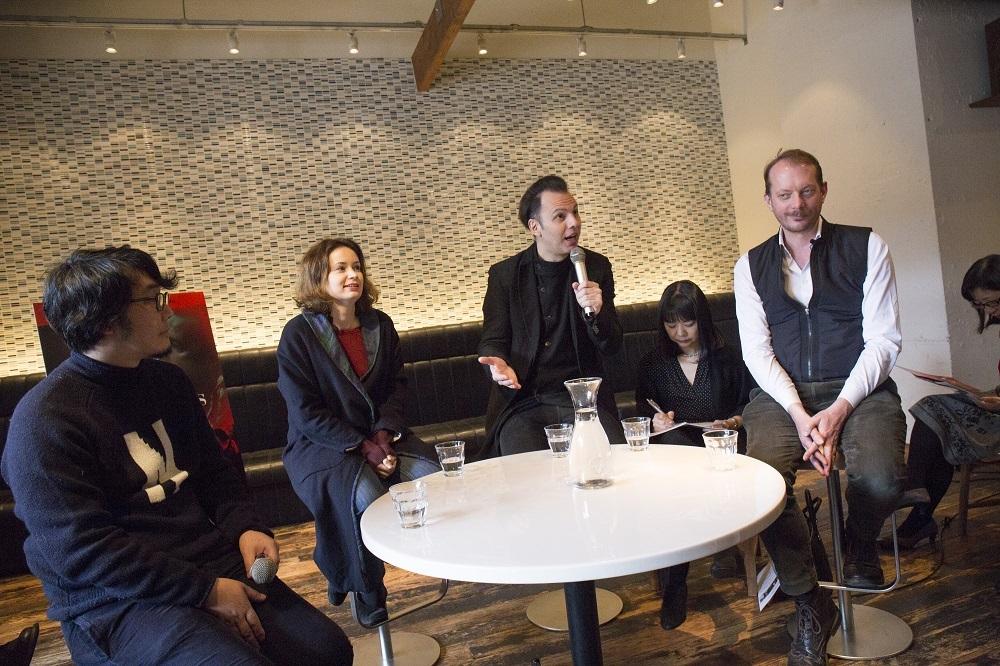 (左から)若林恵、パトリツィア・コパチンスカヤ、テオドール・クルレンツィス、マルク・デ・モニー 写真=大森克己