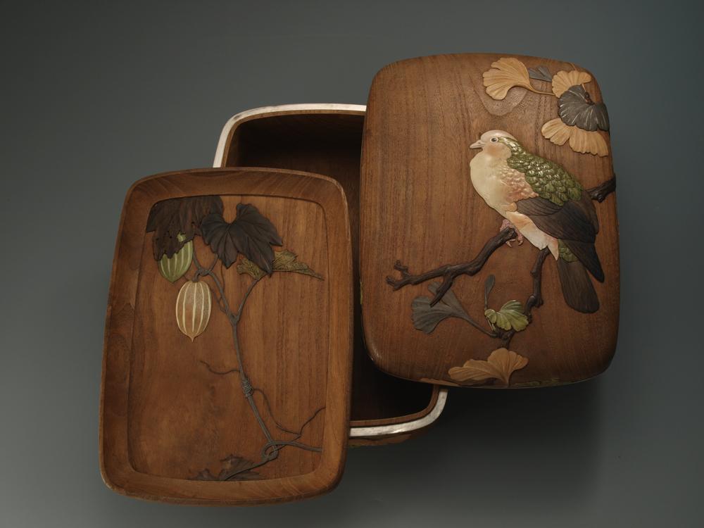 【木彫】旭玉山《銀杏鳩図文庫》清水三年坂美術館蔵