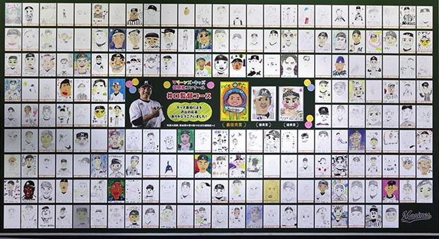 「マリーンズ・似顔絵スタメンコンクール」の応募作品はコンコースに展示される