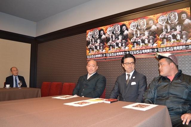 新間寿リアルジャパンプロレス会長、タカ・クノウ、澤田敦士、平井丈雅リアルジャパンプロレス代表