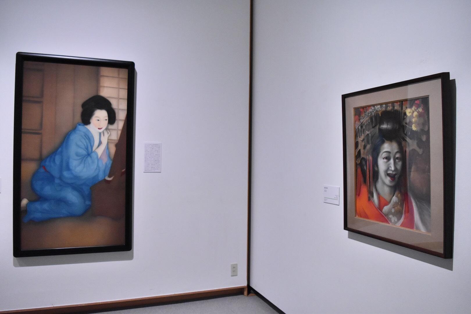 左:梥本武雄 《化粧》 大正11(1922)年 山口県立美術館 右:稲垣仲静 《太夫》 大正8(1919)年頃 京都国立近代美術館
