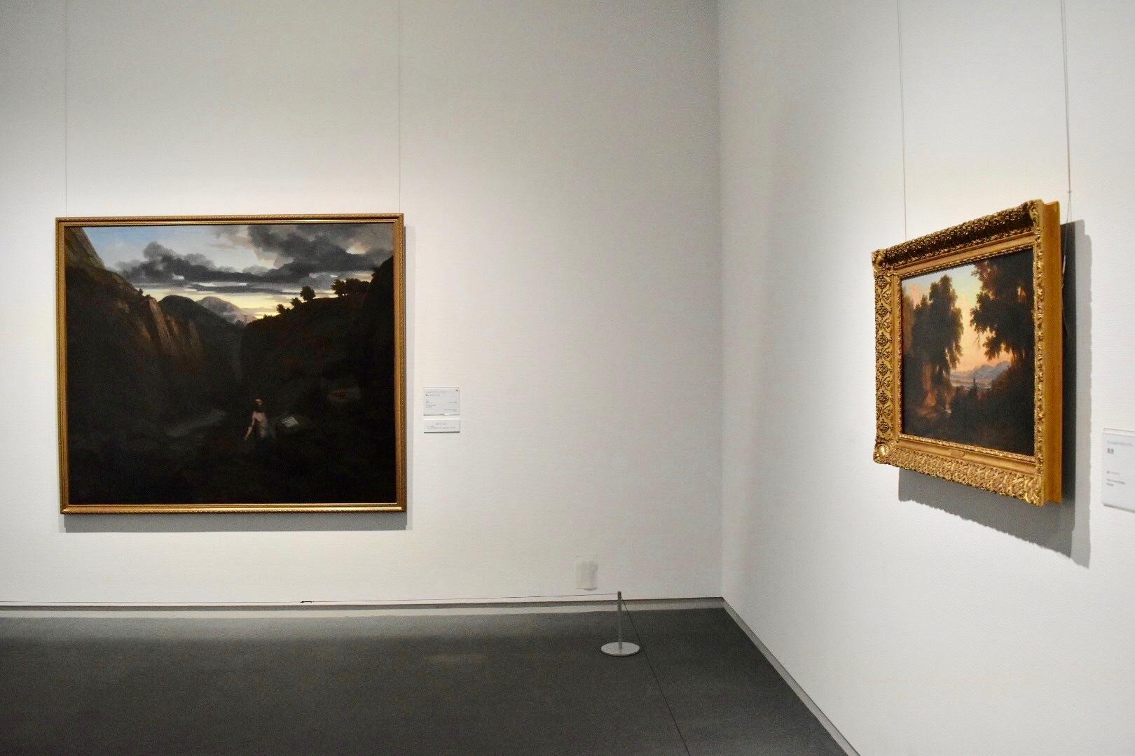 左:シャルル=フランソワ・ドービニー 《聖ヒエロニムス》 1840年 アミアン、ピカルディー美術館蔵 右:同画家 《風景》 ベルネー市立美術館蔵