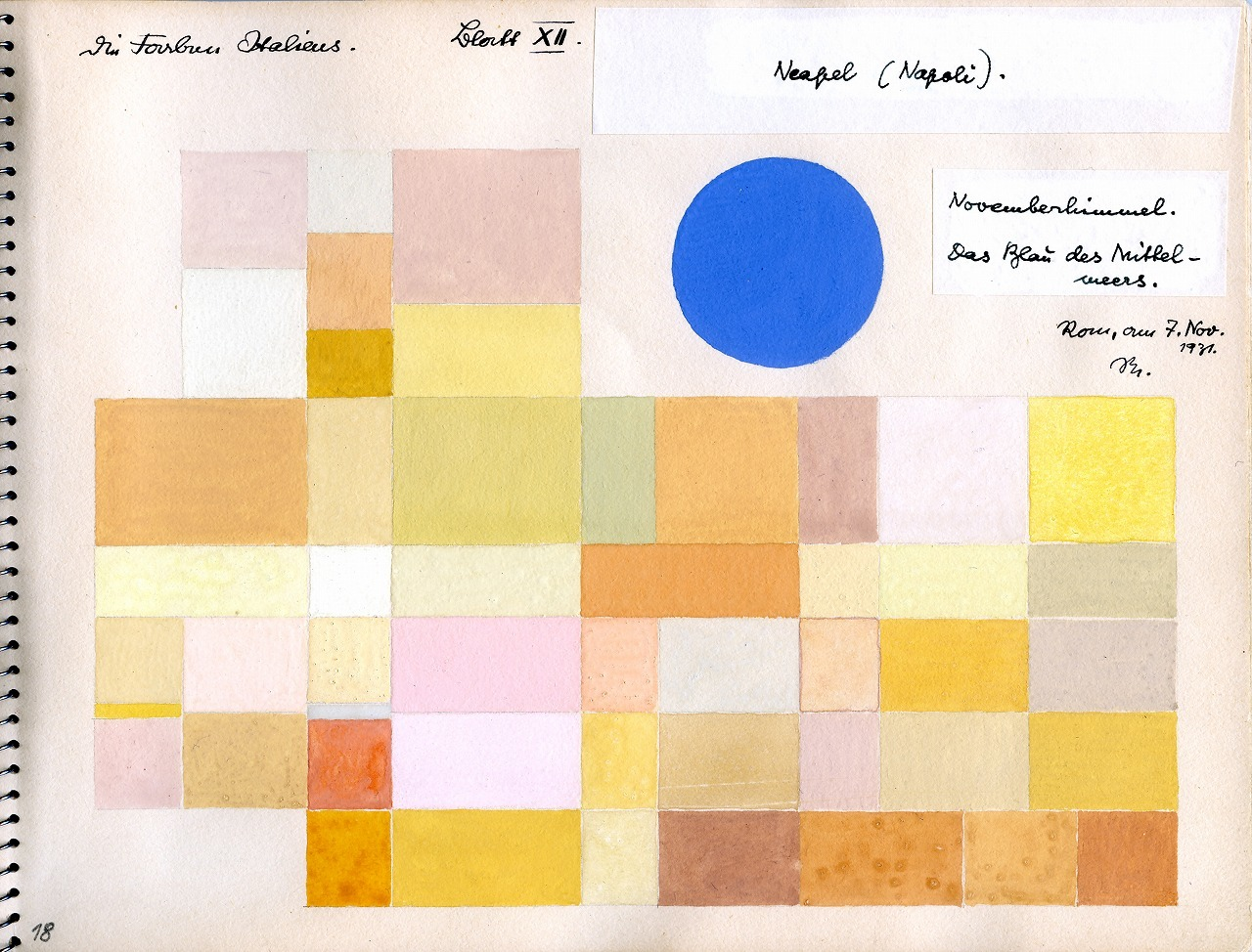 オットー・ネーベル 《ナポリ》『イタリアのカラーアトラス(色彩地図帳)』より、1931年、インク、グアッシュ・紙、 オットー・ネーベル財団