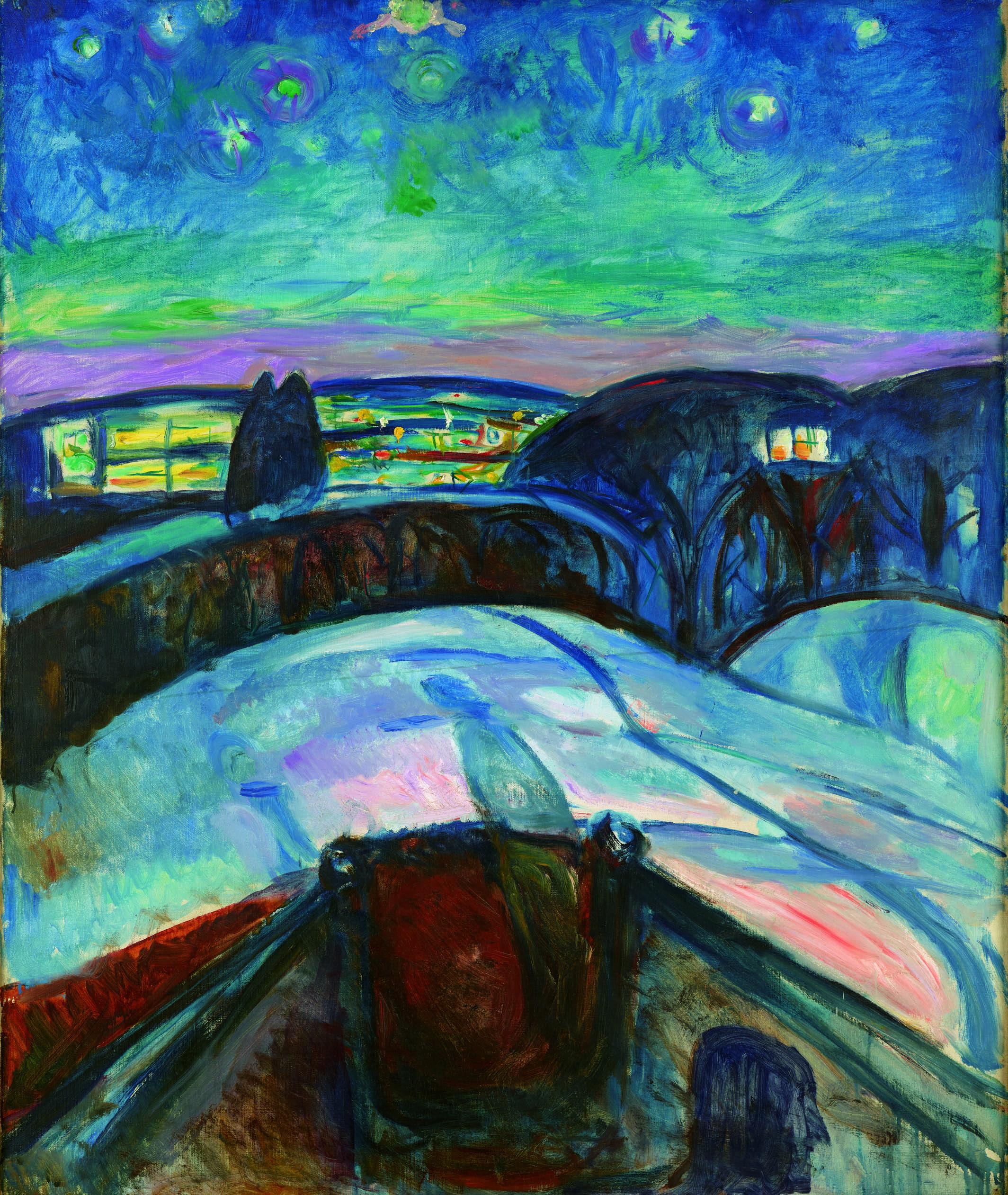 エドヴァルド・ムンク《星月夜》1922-24年 油彩、カンヴァス 120.5×100cm