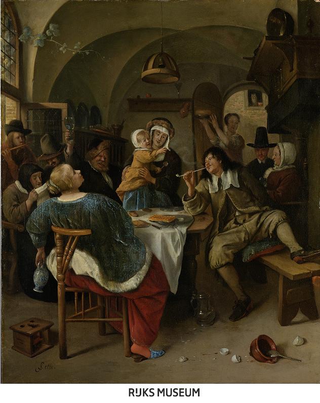 ヤン・ステーン 《家族の情景》 1665-1675年頃    油彩・板 48.5×40cm    アムステルダム国立美術館   Rijksmuseum. On loan from the City of Amsterdam (A. van der Hoop Bequest)