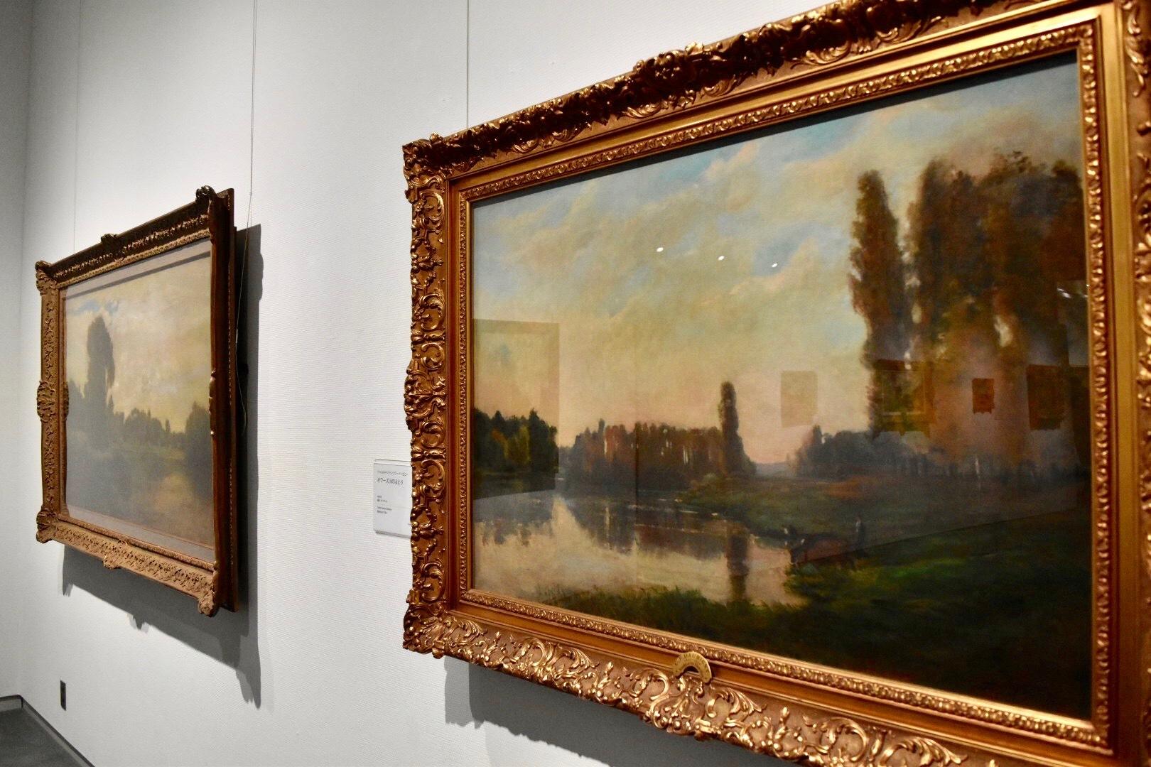 右:シャルル=フランソワ・ドービニー 《オワーズ川のほとり》 1865年 千葉県立美術館蔵