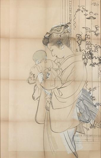 上村松園《母子(下絵・初公開)》