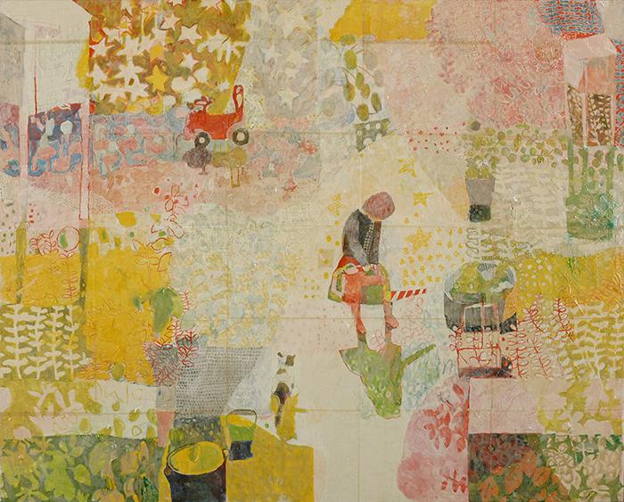 石井 奏子《水やりとねことぬりえ》油彩 162.1×130.3cm 2010年 上野の森美術館蔵