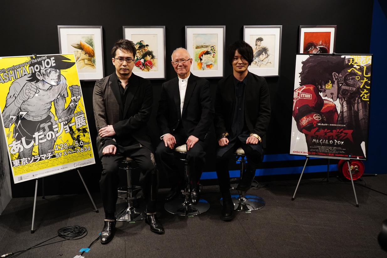 ちばてつや氏を中心に今期話題の『メガロボクス』で主人公ジョー/ジャンクドッグを演 じる細谷佳正氏(右)と、そのライバル・勇利を演じる安元洋貴氏(左)が並んだ