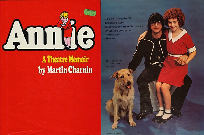 マーティン・チャーニン著「Annie: A theatre memoir」表表紙+裏表紙 (サンディの右でアンドレア・マカードルを膝に乗せているのがチャーニン)