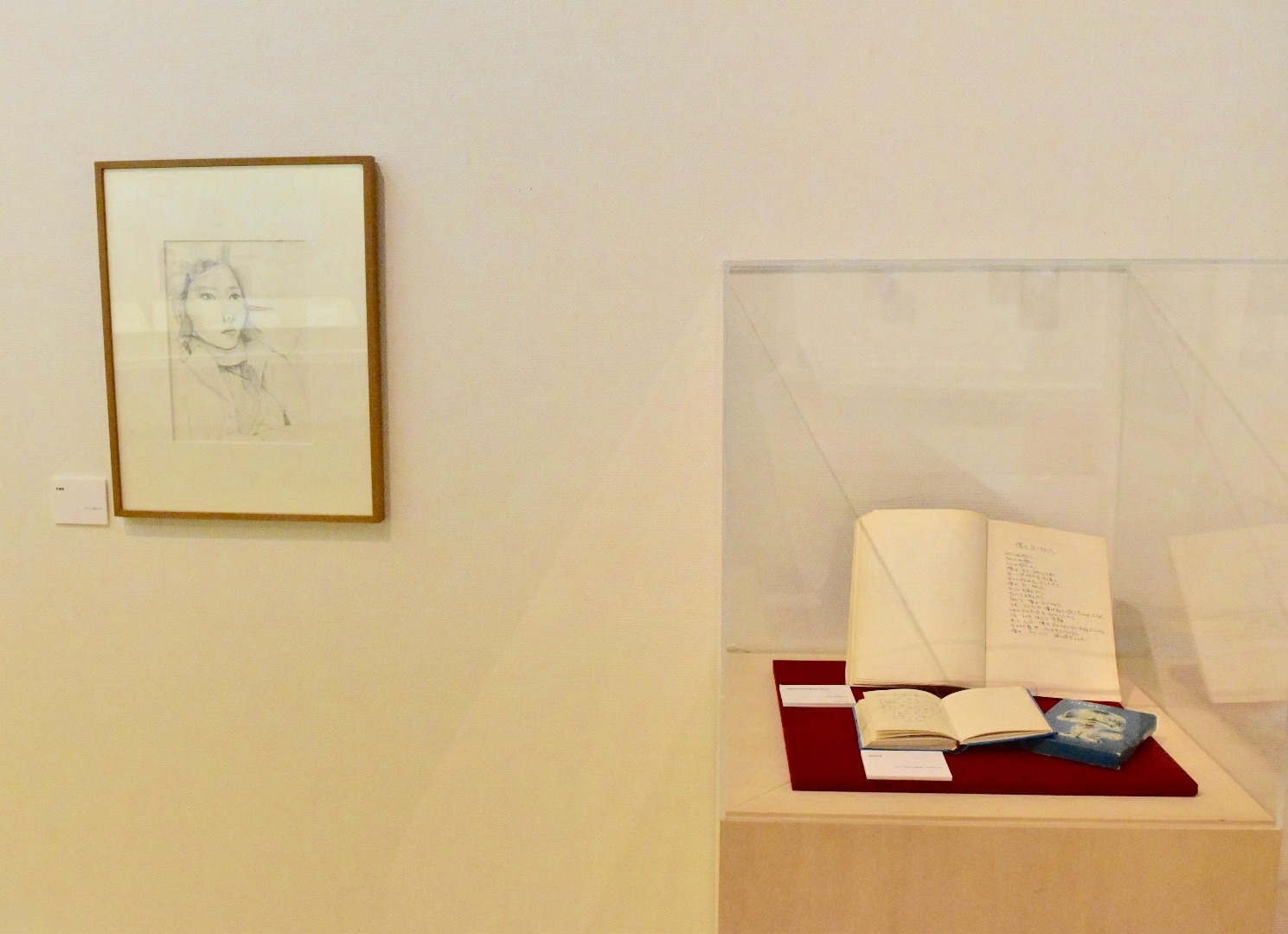 左:肖像画 1977年 右手前:DIARY 1972-2001年 右奥:INNER PORTRAIT Blues 1977年