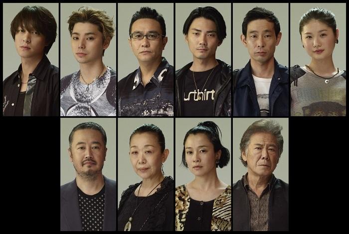 (上段左から)丸山隆平、村上虹郎、⼋嶋智⼈、毎熊克哉、⽔澤紳吾、⼩野花梨 (下段左から)⾚堀雅秋、梅沢昌代、坂井真紀、⻄岡德⾺