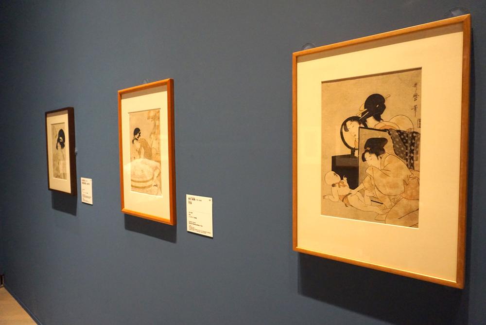 (右)喜多川歌麿《覗き》1800年頃  フィラデルフィア美術館蔵