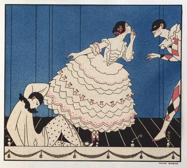 ジョルジュ・バルビエ版画 『ル・カルナヴァル』より 「クラウンとコロンビーヌとア ルルカン」1914年 (C) 兵庫県立芸術文化センター