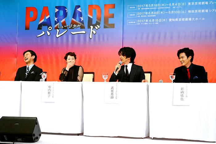 (左から)石丸幹二、堀内敬子、武田真治、新納慎也