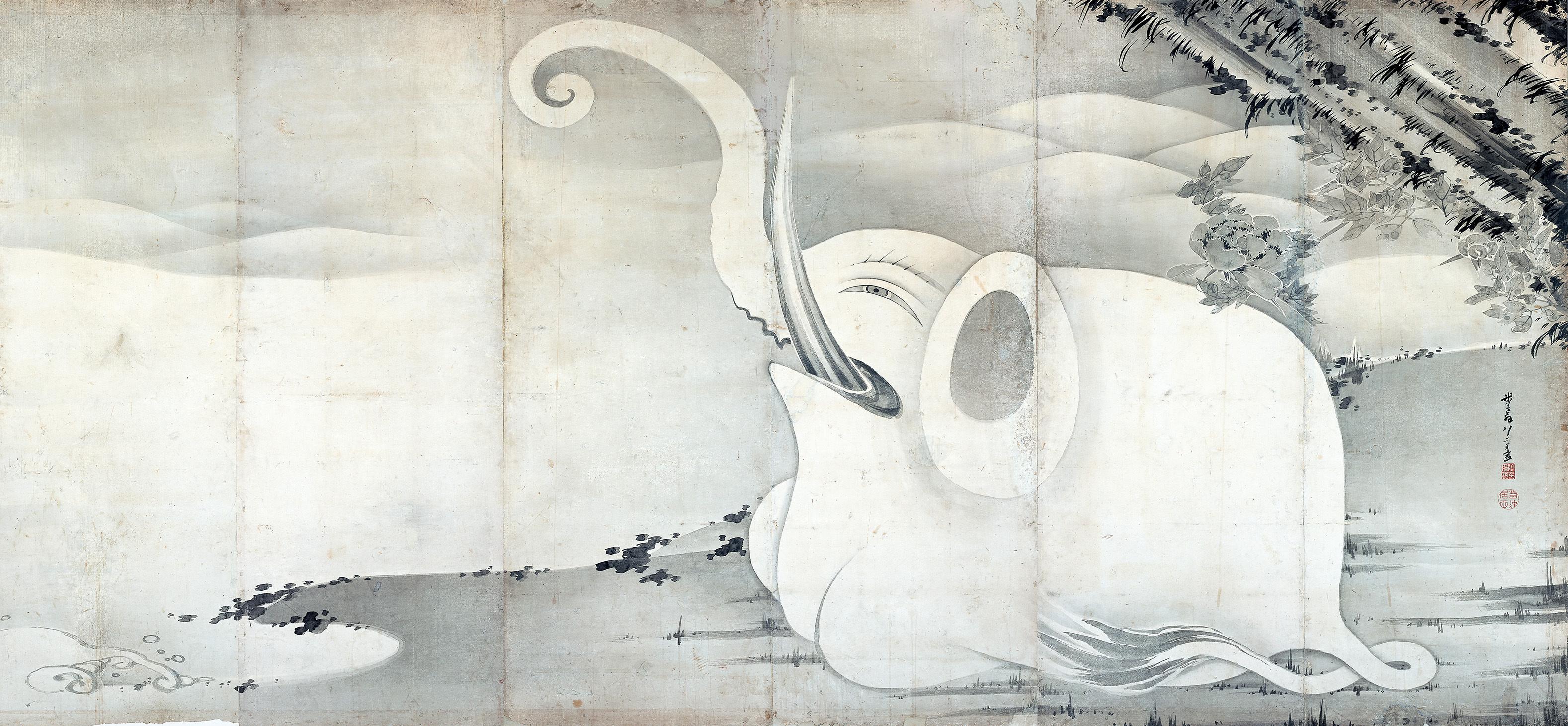 伊藤若冲 《象と鯨図屛風》 紙本墨画 六曲一双 各159.4×354.0 寛政9年(1797) MIHO MUSEUM(部分)