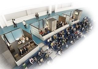 壁で仕切られた半個室で、グラウンドに面したカウンター席、ソファ、テーブル、テレビモニターなどが設置される 提供:竹中工務店 ※CGは計画段階のものであり、施工上等の理由により変更となる場合があります。