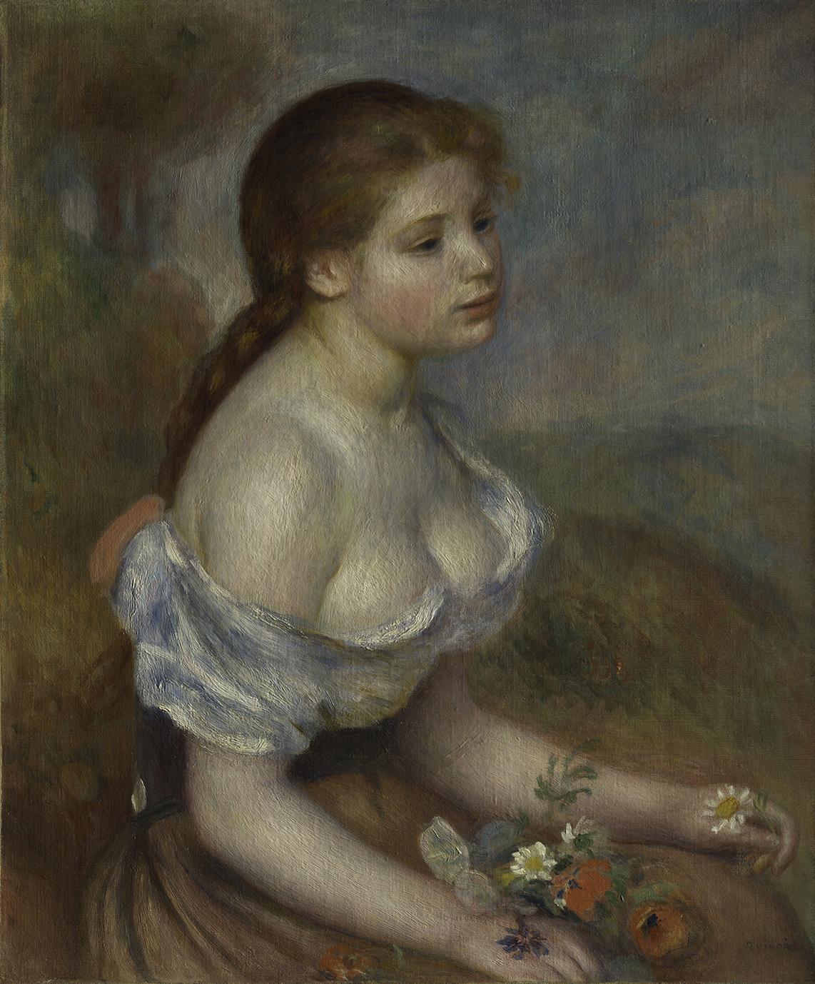 オーギュスト・ルノワール《ヒナギクを持つ少女》1889年 油彩、カンヴァス 65.1x54cm メトロポリタン美術館
