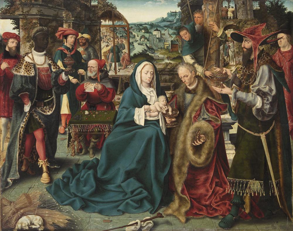 南ネーデルラントの画家 《東方三博士の礼拝》 1520 年頃 油彩・板