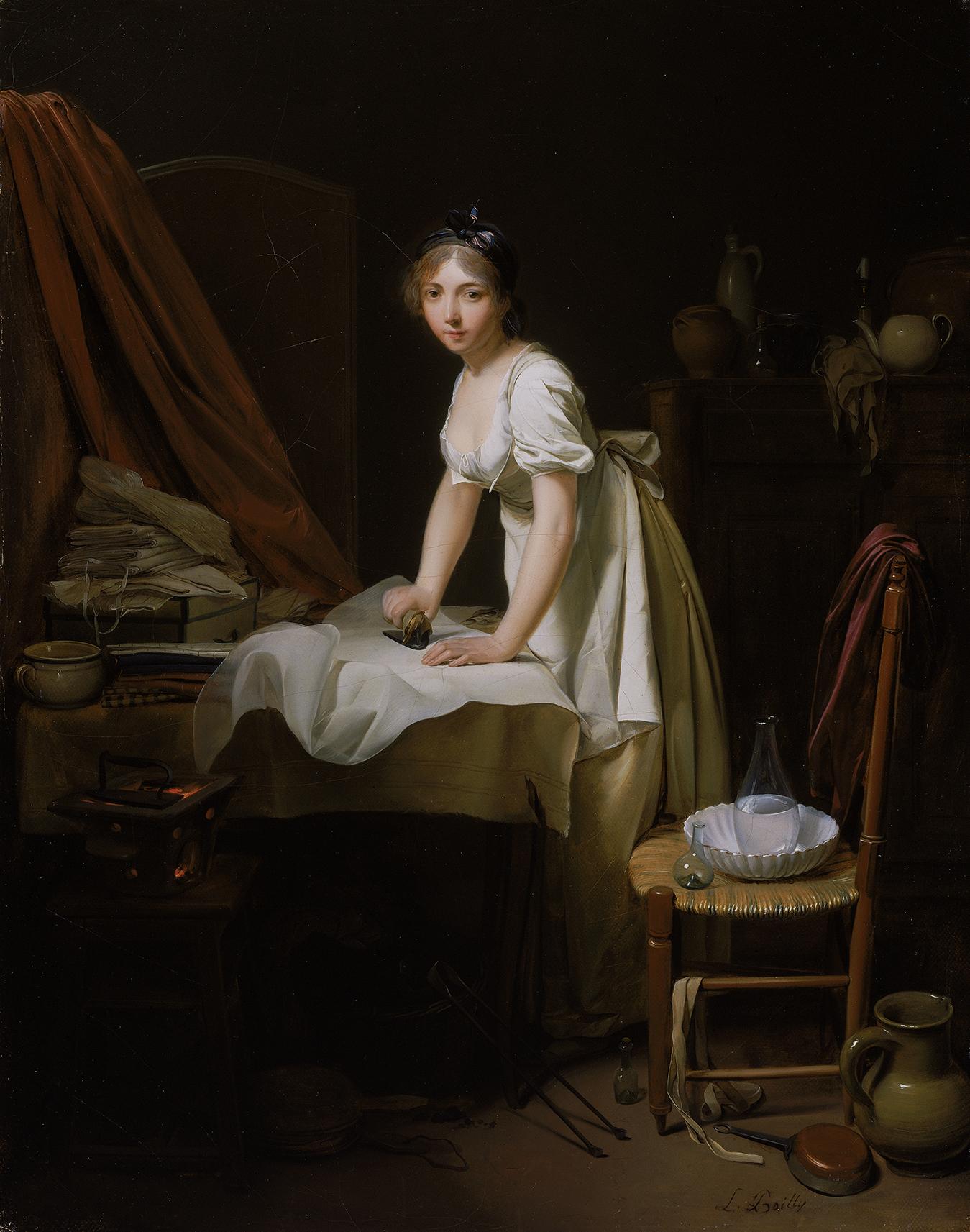 ルイ=レオポルド・ボワイー《アイロンをかける若い女性》1800年頃  Charles H. Bayley Picture and Painting Fund 1983.10