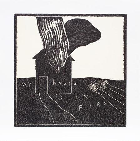 My House is on Fire ed.26/30 2013 sheet: 50.0 x 50.0 cm woodcut (C)David Lynch