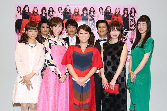 (前列左から)早織、ともさかりえ、友近、YOU、入山法子(後列左から)大村学、長谷川朝晴、堀部圭亮 撮影:宮川舞子